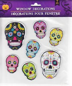 Halloween Window Cling Stickers 7 Piece ~ Day of the Dead Skulls