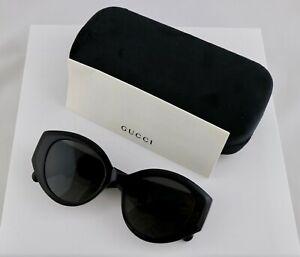 Gucci GG0809S 001 52mm Cat Eye Matelasse Black Women Sunglasses with Grey Lens