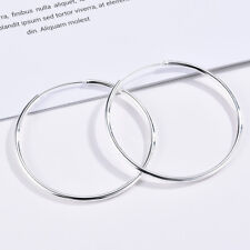 925 Silver Big Large Round Circle Ear Hoop Womens Earrings Wedding Jewelry Gifts