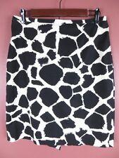 SK12269- ANN TAYLOR LOFT Womens Cotton Pencil Skirt Black Off White Geo Sz 8