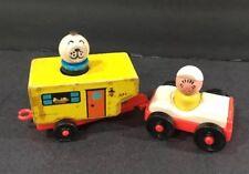 Vtg Fisher Price #686 Car & Wood Camper Play Family Set 1968-70