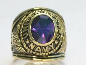12x10 mm United States Navy Military February Purple Stone Men Ring Size 7-15