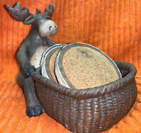 Moose Basket Coaster Holder & 4 Faux Birchbark Coasters Wilderness Outdoorsy