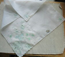 Vintage Madeira Embroidered White Hankie Green Floral Botanical Doily