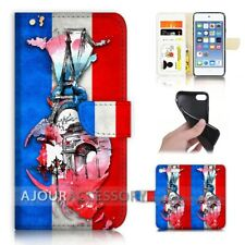 ( For iPod Touch 6 ) Wallet Flip Case Cover AJ40329 France Flag