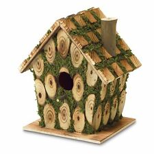 Moss Edged Bird House Outdoor Garden Yard Wildlife Knotty Wood Nesting Animal