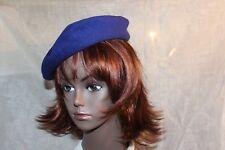 Vtg LADY 30s-40s BLUE WOOL FELT BETMAR BASQUE LINED BERET MADE IN FRANCE XS