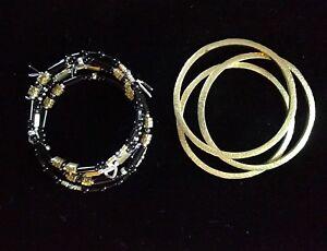 Silpada Sterling Silver Black Nightfall Wrap and Brass Bangle Bracelets - 4