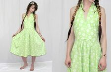 Vintage 80s 50s Green DAISY Print Floral Retro HALTER Full Skirt Summer Dress~S