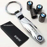BMW chrome metal key ring with set of 4x tyre valve dust caps with gift box