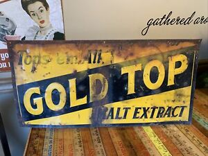 Vintage ~ Antique ~ Tin Sign ~ Label Gold Top Extract ~ Advertising