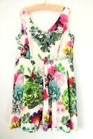 City Chic Plus Size M 18 Fit & Flare Dress Box Pleat Succulent Floral Colourful