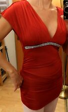 Bebe Bodycon Kleid gerafft Tunika heiß zu Leggings weinrot Strass Gr XS