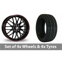 "4 x 17"" Calibre Motion 2 Black Red Alloy Wheel Rims and Tyres -  205/40/17"