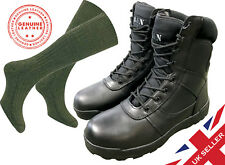 ALL LEATHER Black Cadet ATC Army Patrol Combat Boots + SOCKS Airsoft Military