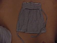 BRAND NEW ladies black & white stripe striped strapless top size 10 FREE POSTAGE