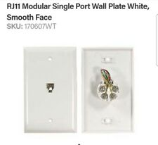 Telephone Wall Plate White Jack Modular RJ11 6P4C 4 Conductor 1 PC Phone