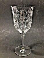 """Vintage Etched Crystal Water Goblet - 7 1/4""""H"""