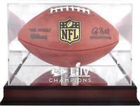 Kansas City Chiefs Super Bowl LIV Champions Mahogany Football Logo Display Case
