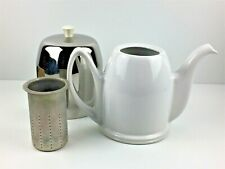 Insulated Salam-The Teapot White Porcelain w/ Chrome Cover & Strainer Salam The