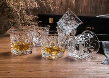 Pack of 6 Diamond Cut Style Whisky Glass Set Cocktail Wine Cup Set Tea Cup 300ml