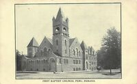 Peru Indiana~First Baptist Church Corner~1905 B&W Postcard