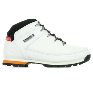 Bottines Timberland homme Euro Sprint Helcor taille Blanc Blanche Cuir Lacets