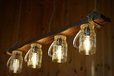 Beer glass lamp of aged wood, wooden chandelier, pendant light, vintage bulbs