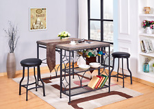 3Pc Rivets Counter Height Dining Table/Pub Set (3 in 1)