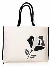 "LANCOME Paris Black Summer Canvas Tote Bag Rose w/Silver Glitter 13"" x 18"" x 2"""