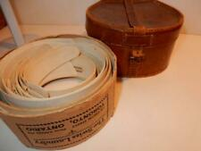 ANTIQUE RARE LEATHER COLLAR BOX WITH LOT OF CELLULOID OLD MEN'S COLLARS