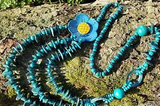 Mar Verde De Coco/MADERA GRUESO FLOR PERLA collar étnico/Tribal Style 52cm