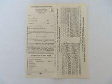 Vintage 1958 Pennsylvania Antlerless Deer Season License Application #9692