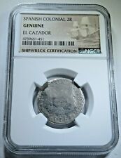 NGC Graded Authentic 1763 El Cazador Shipwreck 2 Reales Old Antique Pirate Coin