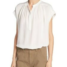 VINCE SHIRRED NECK WOMEN SILK BLOUSE SIZE XS in White orig $285