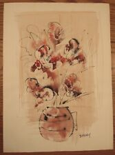 Signed Alfred Birdsey mixed media painting flowers in a vase 16x22""