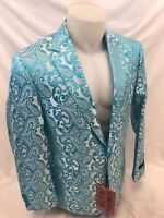 Mens INSOMNIA MANZINI TURQUOISE PAISLEY Jacket ENTERTAINER PERFORMER MUSICIANS