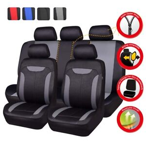 Universal Auto Car Seat Covers Black Grey Split Rear Airbag fit for most car