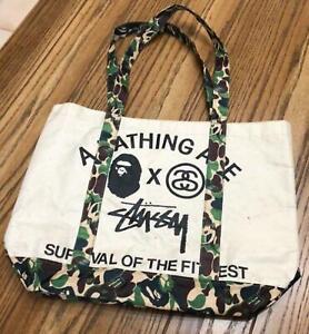 A BATHING × STUSSY Collaboration Tote Bag Novelty APE BAPE Limited Near MINT JPN