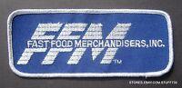 "FAST FOOD MERCHANDISER EMBROIDERED SEW ON PATCH FFM BLUE 4 3/4"" x 2"""