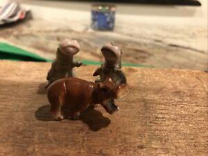 Vintage Lot Of 3 Hagen-Renaker Mini  Hippos
