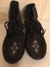 Manitobah Mukluks Black Leather Fringed Booties 8.5