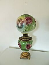 Antique 1800s BRADLEY & HUBBARD GONE WITH THE WIND Oil Lamp Embossed ROSES GWTW