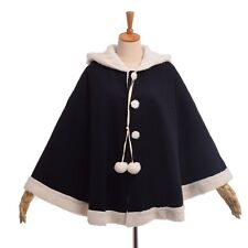 Thicken Overcoat Girls Winter Poncho Cape Loose Hooded Cloak Coat Cute Cat Ears
