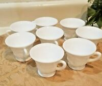 Set of 8 Indiana Colony Harvest Milk Glass Footed Tea/Coffee Cups
