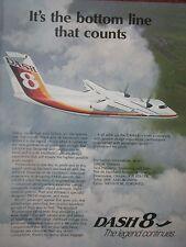 12/1982 PUB DE HAVILLAND AIRCRAFT OF CANADA DASH 8 FLUGZEUG AVION ORIGINAL AD