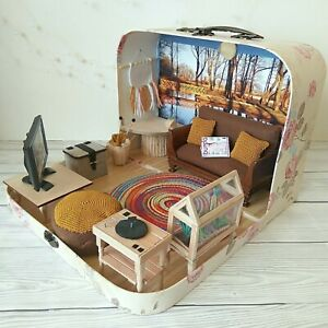 Dollhouse Suitcase in 1:12 scale. Knitting Lovers Diorama, Granny House Travel