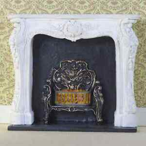 """DOLLS  HOUSE 1/12th SCALE WHITE """"ROCOCO""""  FIREPLACE WITH FIRE BASKET"""