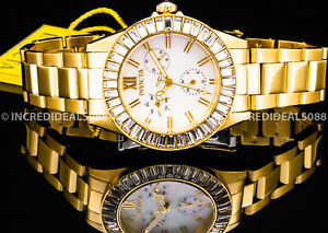 Invicta Women Angel MULTI FUNCTION Crystal Accented 18Kt GOLD Plated MOP Watch