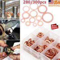 280/300Pcs 12Sizes Copper Metric Sealing Washers Flat Washers Assortment Kit
